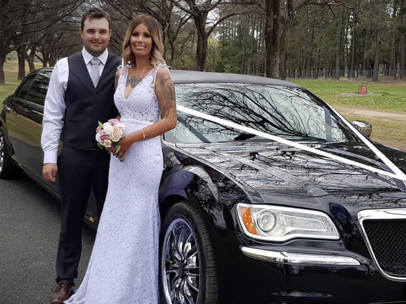 Black Chrysler Wedding Limo